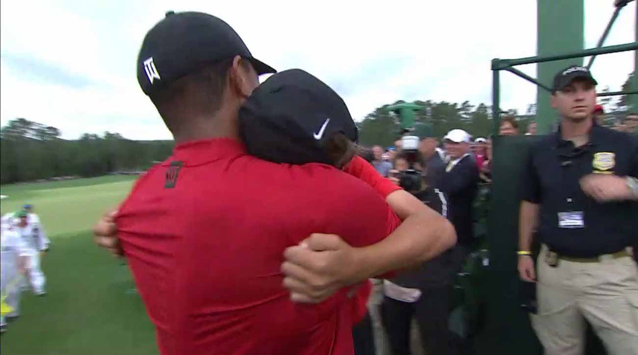 Tiger Woods and his son Charlie shared an unforgettable moment at this year's Masters.