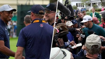 Left: Tiger Woods with member of Barstool's golf team. Right: Dustin Johnson with a a press scrum at the 2017 Masters.