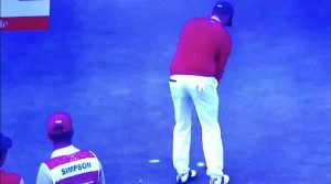 Webb Simpson faced down a two-footer for par on No. 1 at the Presidents Cup.