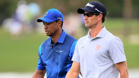 Adam Scott and Tiger Woods at the 2014 WGC-Cadillac Championship.