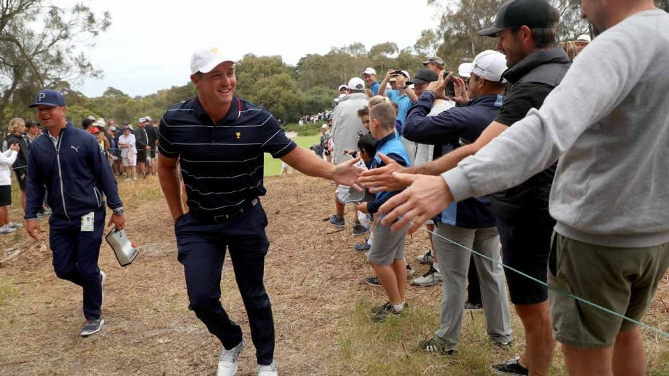 Bryson DeChambeau greets fans on Wednesday at the 2019 Presidents Cup