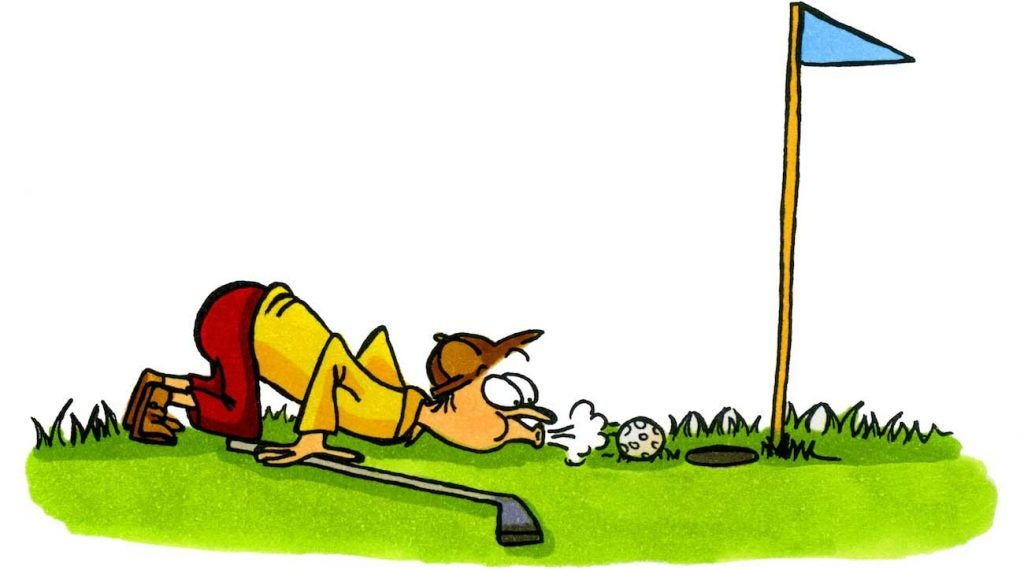 A golfer trying to cheat a bit. This cartoon was hand-drawn in ink and colored with markers.