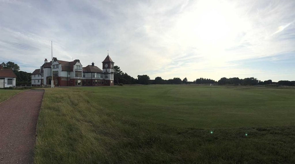 Formby's 18th green and iconic clubhouse.
