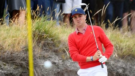 Justin Thomas watches a shot during the first day of the Presidents Cup.