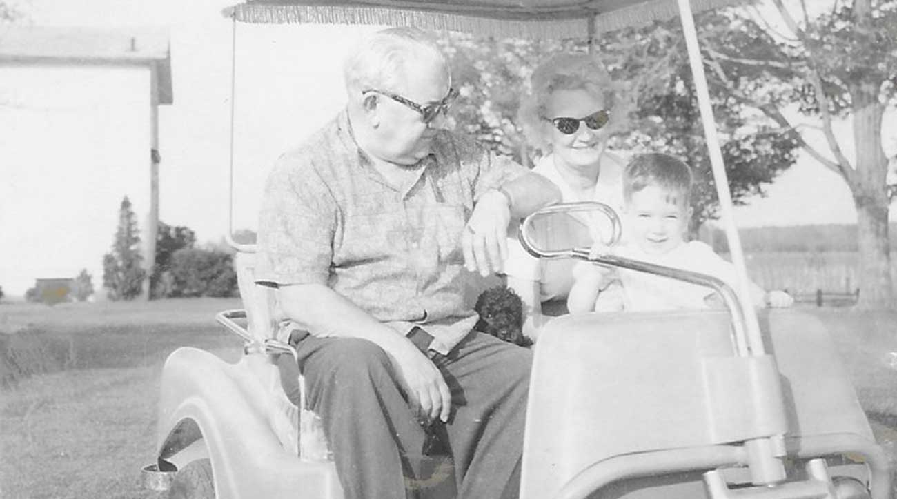 Mitch with his grandparents on their golf cart in Harborcreek, Pa.