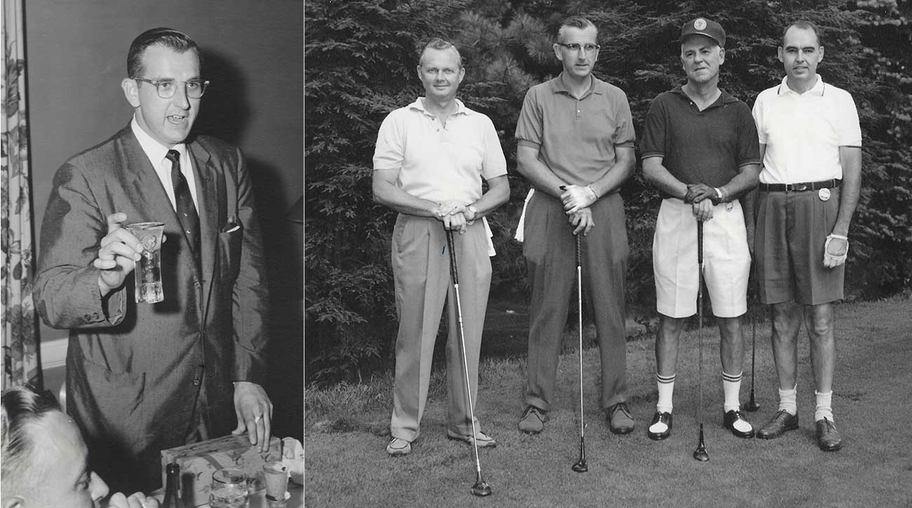 Morrie speaking at a dinner (left) and getting ready to tee it up with some friends.