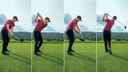 Patrick Cantlay's driver swing sequence in four images.
