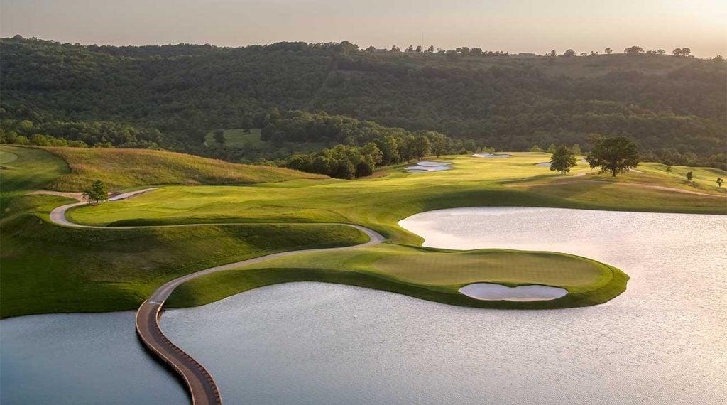 A view of Payne's Valley, a Tiger Woods design, at the Ozarks' mega-resort Big Cedar Lodge.