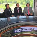 CBS Sports broadcasters Nick Faldo and Jim Nantz with jack Nicklaus at the 2017 Memorial Tournament.