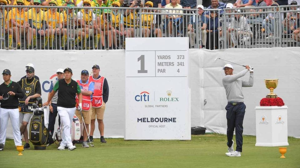 Tiger Woods tees off during Day 2 at the 2019 Presidents Cup