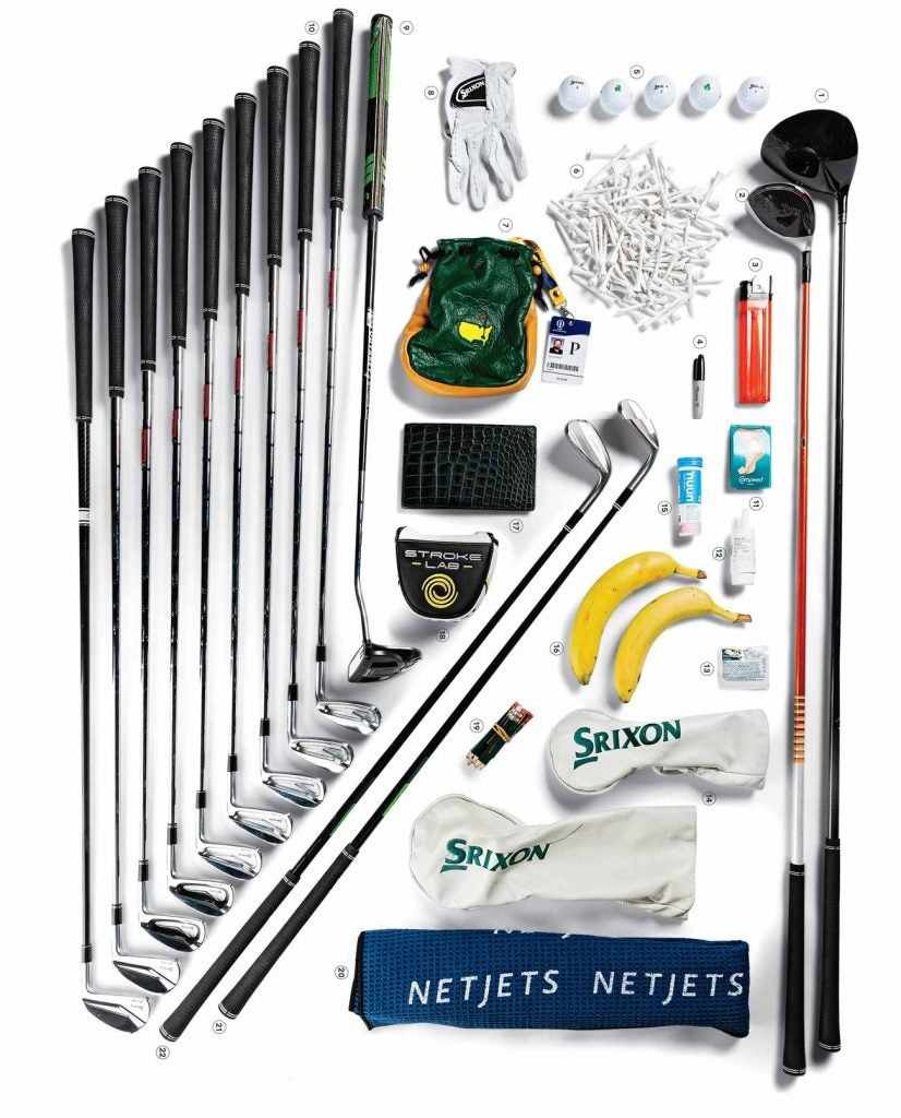 All the contents of Shane Lowry's golf bag.