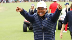 Tiger Woods celebrates after captaining the U.S. team to a 2019 Presidents Cup victory.