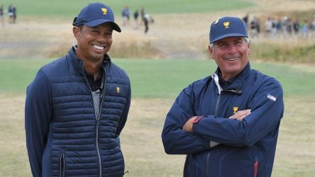 Tiger Woods and Fred Couples share a laugh during last week's Presidents Cup.