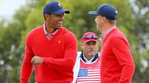 Tiger Woods and Justin Thomas at the Presidents Cup.