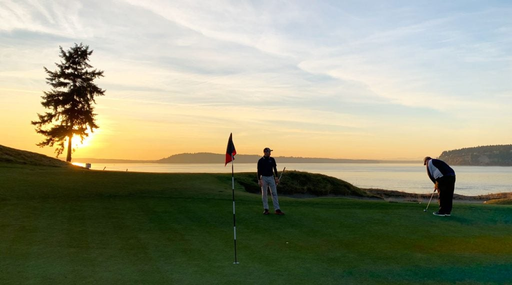 The 15th is not so daunting from the tee box, but often plays into a prevailing wind off Puget Sound.