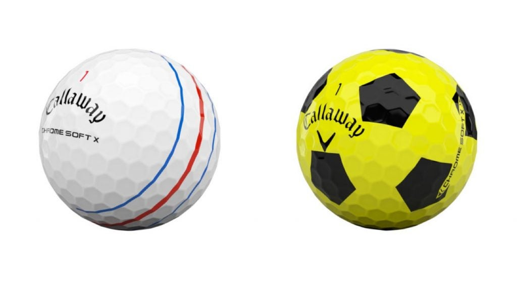 In addition to standard white, Callaway's Chrome Soft X is also available with Triple Track technology and Truvis.