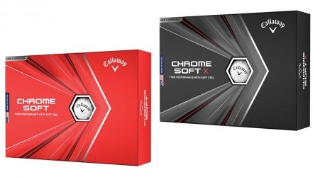 Callaway's 2020 Chrome Soft (L) and Chrome Soft X (R) golf balls.