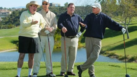 Larry David and his golf foursome patiently wait during an episode of Curb Your Enthusiasm
