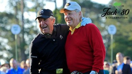 Gary Player and Jack Nicklaus share a laugh while kicking off the 2018 Masters.