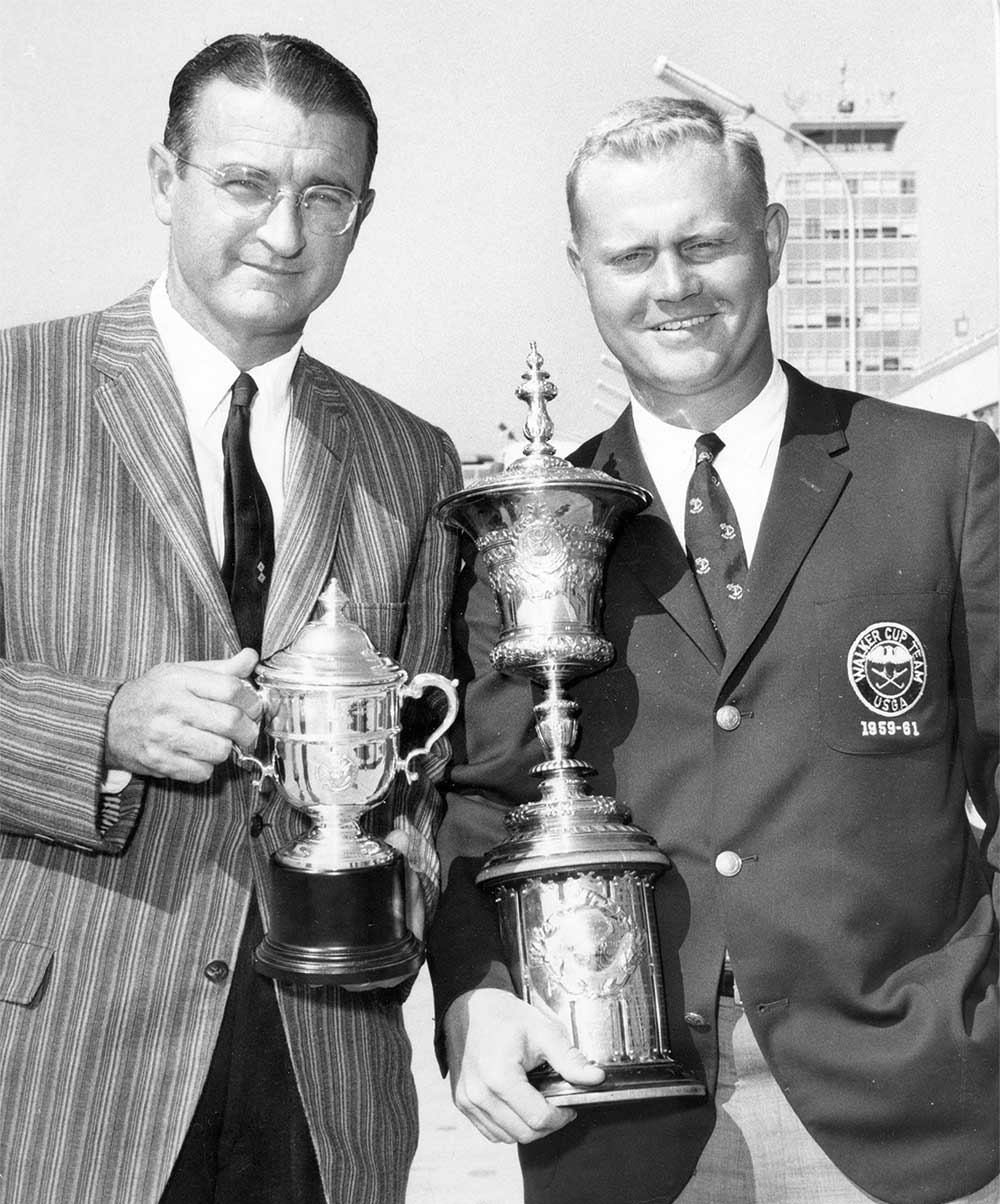 Jack Grout and Jack Nicklaus pictured at the Walker Cup.