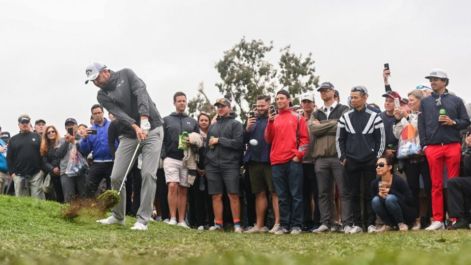 Marc Leishman spent some time playing from unconventional spots on Sunday at the Farmers.
