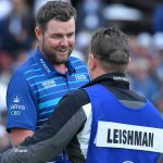 Marc Leishman celebrates his closing 65 at the Farmers Insurance Open.