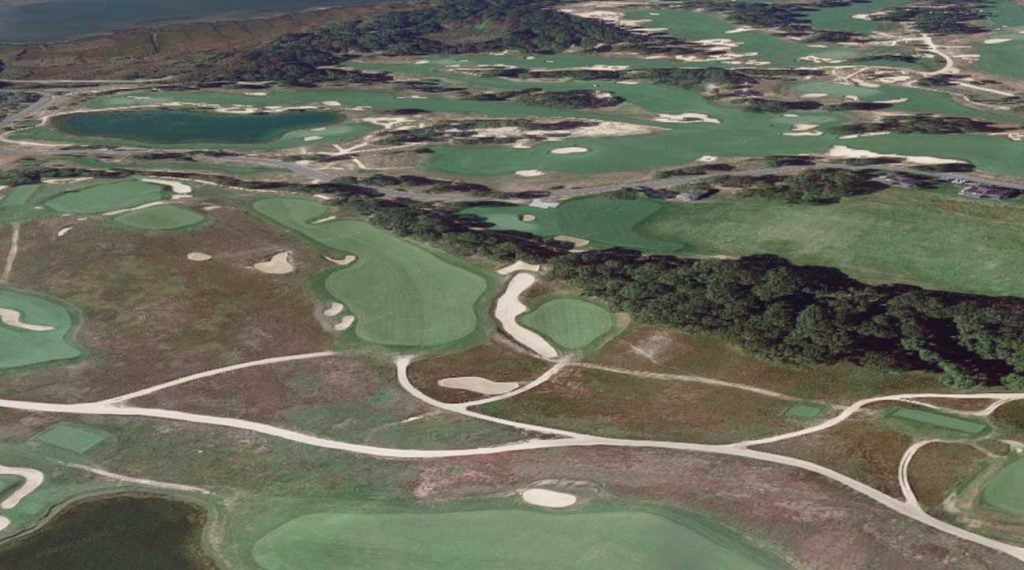 The par-4 3rd at the National Golf Links of America. The tee box is in the bottom right of the photo.