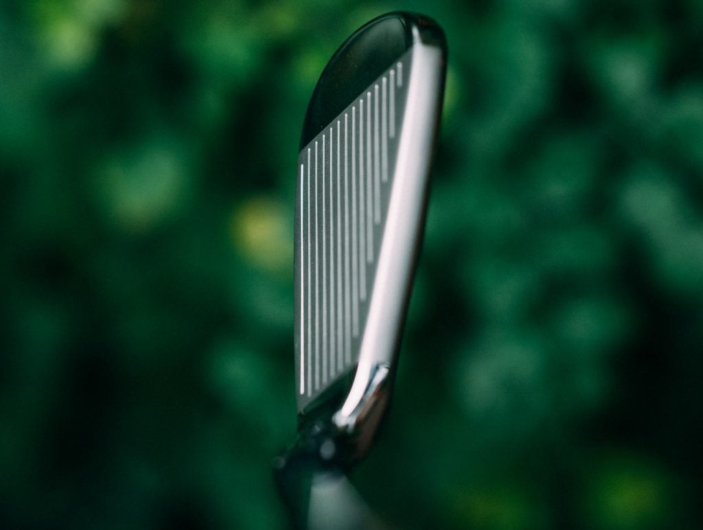 Topline view of TaylorMade's SIM iron.