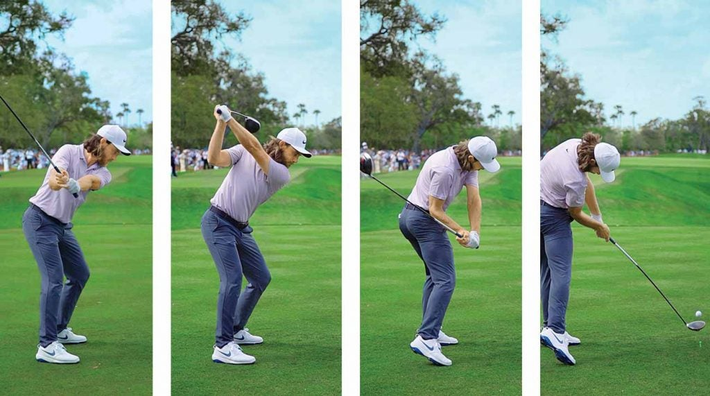 Tommy Fleetwood swings from a stable position.