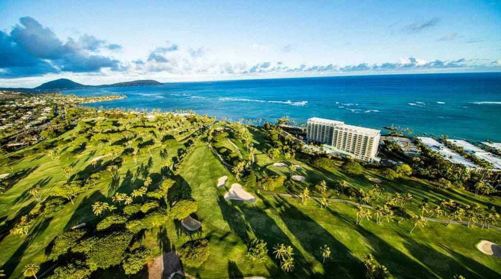 A stunning aerial view of Waialae CC and the Kahala Hotel & Resort.