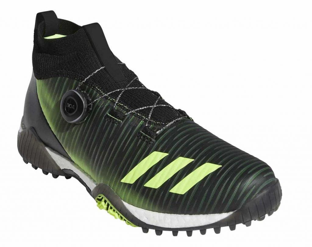 The new Adidas CODECHASO Boa golf high-top golf shoes.