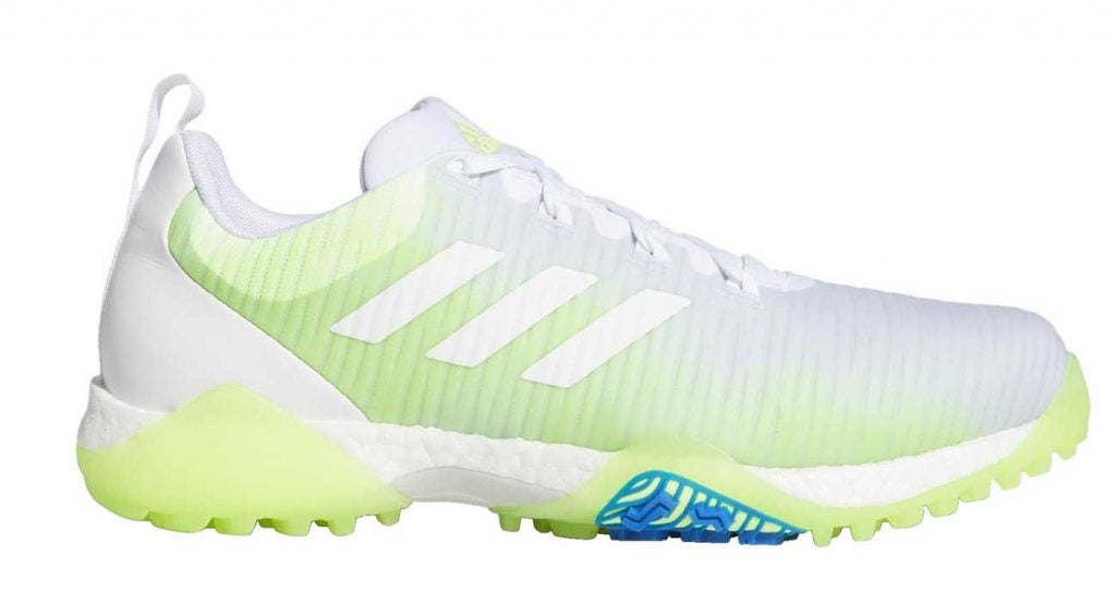 The white version of Adidas' new CODECHAOS golf shoes.