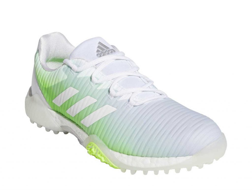 A closer look at the women's version of the Adidas CODECHAOS golf shoes.