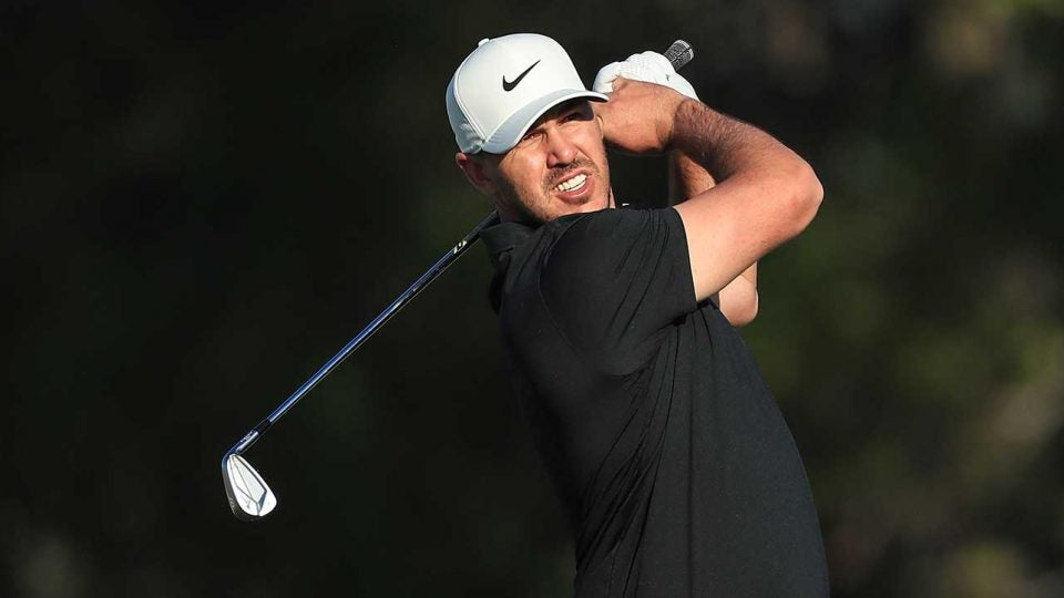 Brooks Koepka watches a shot during the first round of the Abu Dhabi HSBC Championship on Thursday.