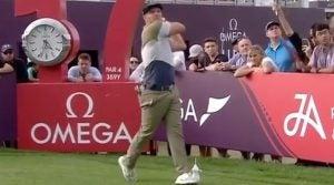 Bryson DeChambeau hits driver on the par-4 17th hole during the 2020 Dubai Desert Classic
