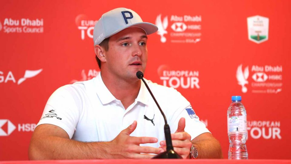 Bryson DeChambeau speaks to reporters prior to the Abu Dhabi HSBC Championship