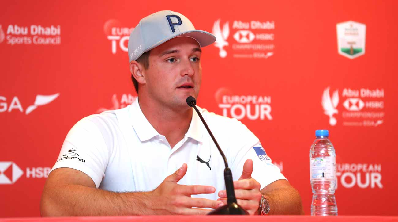 Bryson DeChambeau speaks to reporters prior to the Abu Dhabi HSBC Championship