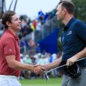 Cameron Smith shakes hands with Brendan Steele after winning the Sony Open on Sunday.