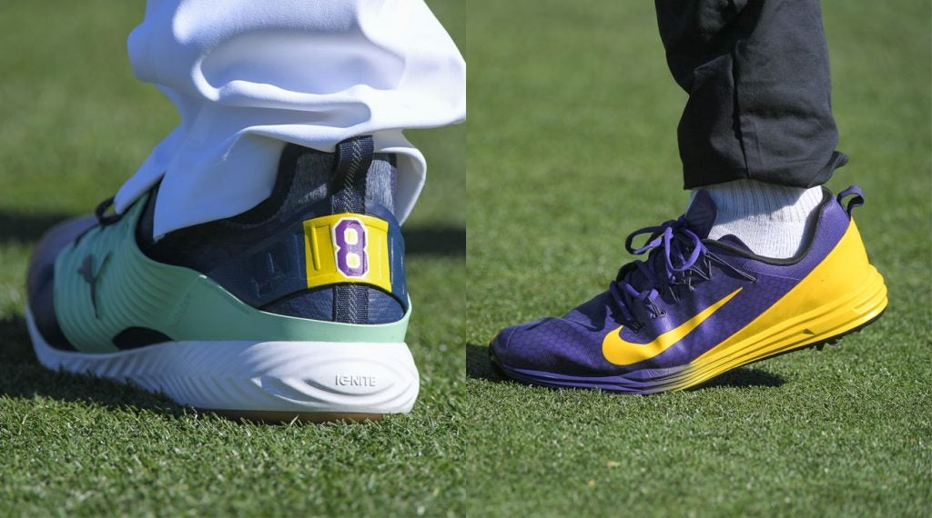 Bryson DeChambeau (left) and Tony Finau (right) wear shoes honoring Kobe Bryant at the Waste Management Phoenix Open.