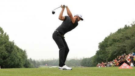 Dustin Johnson tees off during the WGC - HSBC Champions.