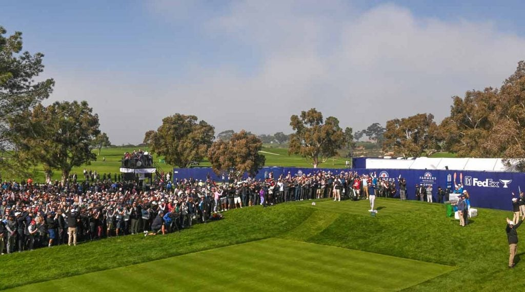 Tiger Woods tees off during the third round of the 2020 Farmers Insurance Open