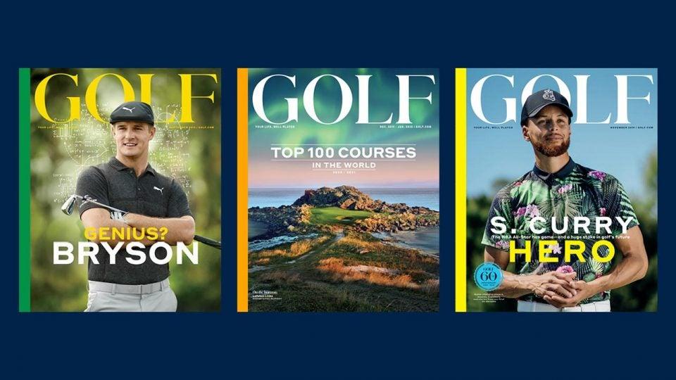 Three recent issues of GOLF Magazine