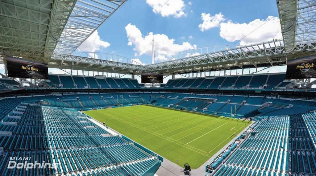 A rendering of Hard Rock Stadium in Miami, host of this year's Super Bowl.