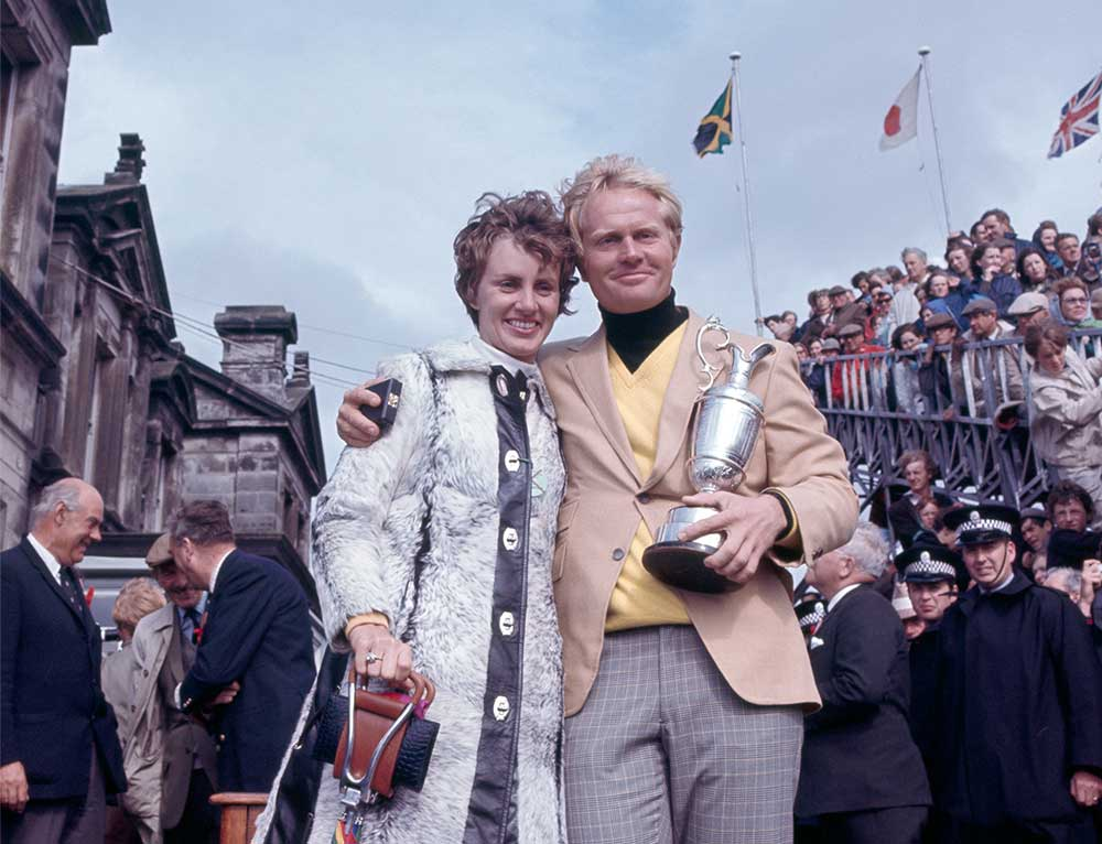 Jack Nicklaus with his wife Barbara after Jack won the 1970 Open Championship at the Old Course in St. Andrews.