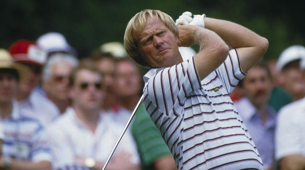 Jack Nicklaus finishes his swing at the Masters.