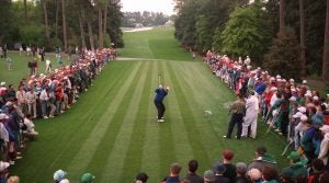 Jack Nicklaus tees off on No. 18 at Augusta National.