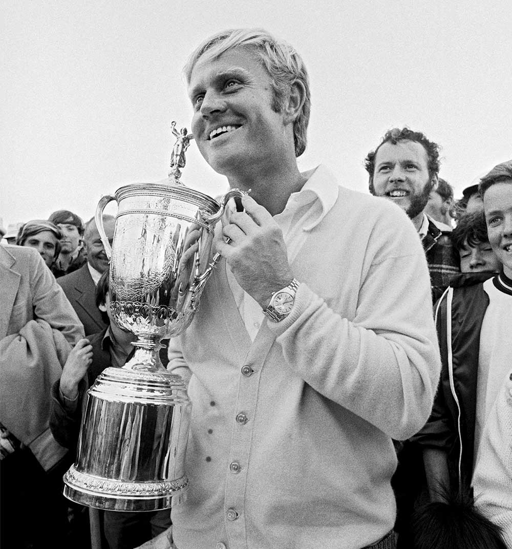 Jack Nicklaus closed with a 74 to beat Bruce Crampton by three and win the 1972 U.S. Open.