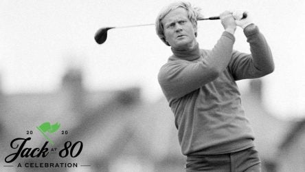 Jack Nicklaus finishes his swing at The Open Championship.