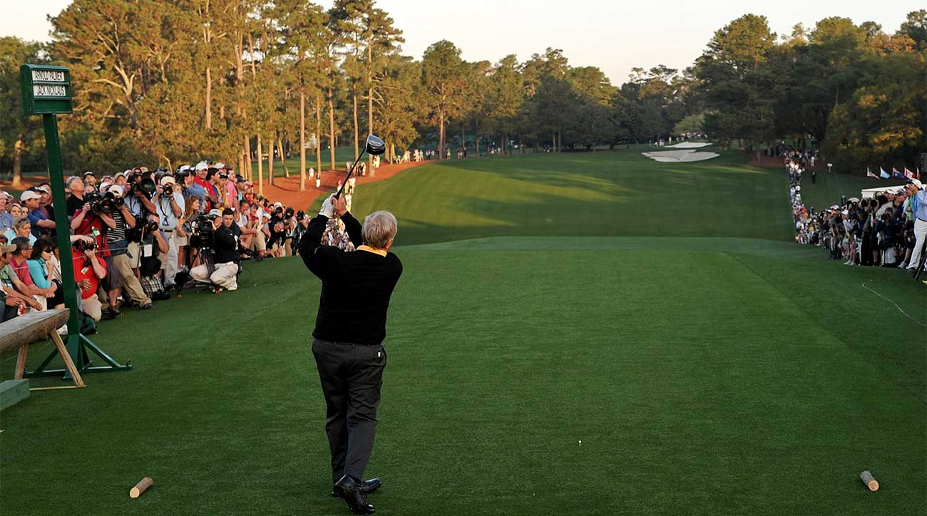 Jack Nicklaus hits the opening tee shot at the 2010 Masters.