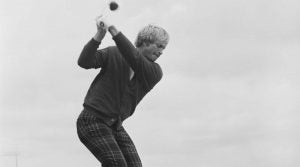 Jack Nicklaus makes a swing on the practice range.
